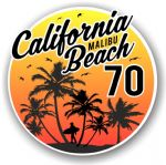 California Malibu Beach 1970 Surfer Surfing Design Vinyl Car Sticker Decal  95x95mm
